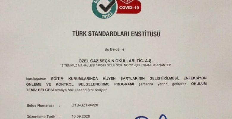 """SEÇKİN KOLEJİ """"OKULUM TEMİZ"""" BELGESİNİ ALDI"""
